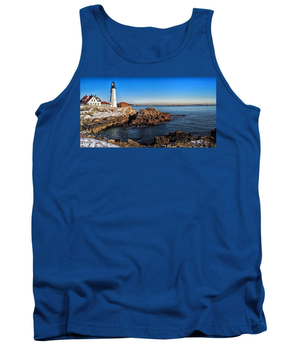 Maine Lighthouse Photography Tank Top featuring the photograph Winter Portland Headlight 2018 by Catherine Melvin