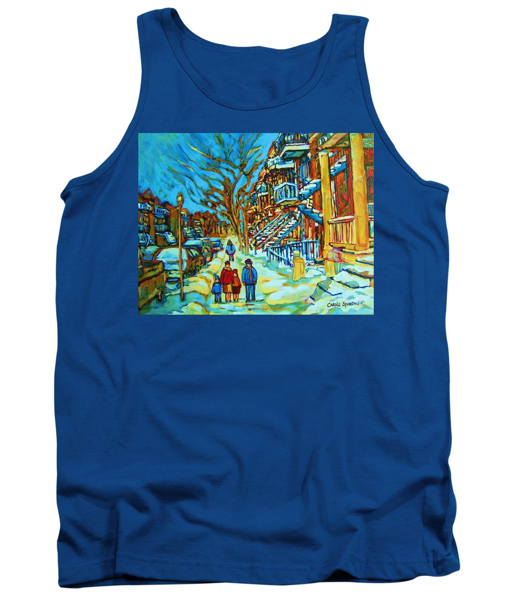 Winterscenes Tank Top featuring the painting Winter Walk In The City by Carole Spandau