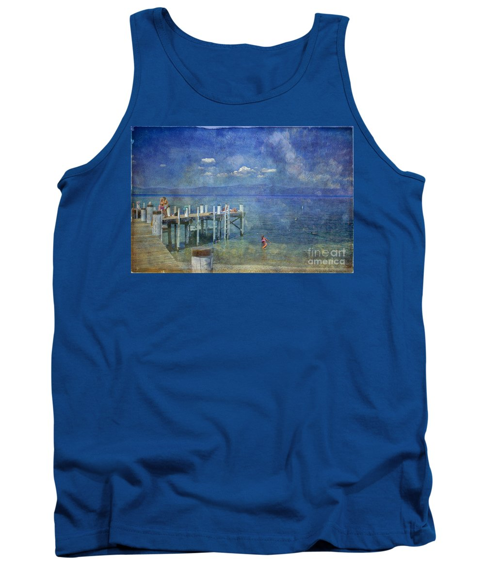 Chambers Landing Lake Tahoe Ca Tank Top featuring the photograph Wish You Were Here Chambers Landing Lake Tahoe Ca by David Zanzinger