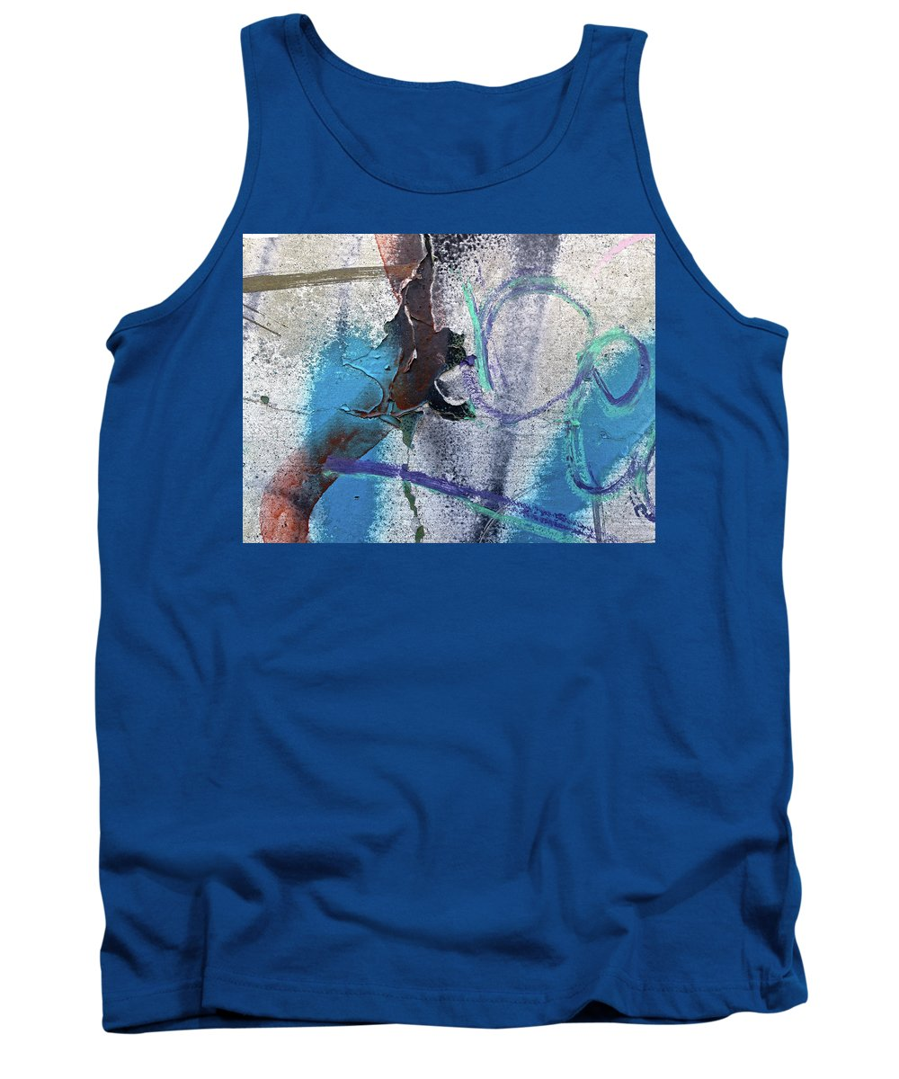 Blue Tank Top featuring the digital art Wounded Concrete by Dan Reich