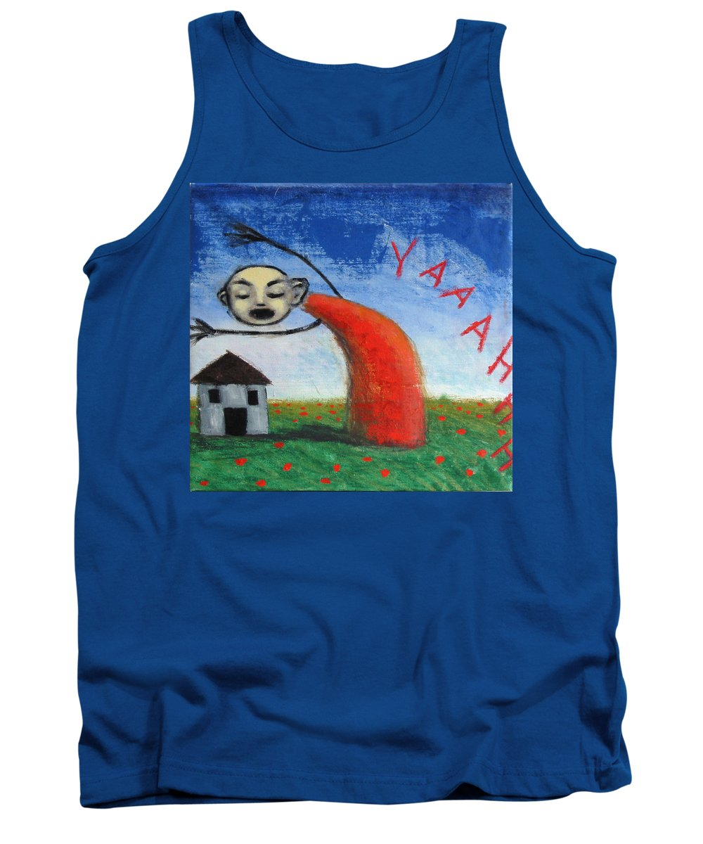 Figure Tank Top featuring the painting Yaaahhh by Pauline Lim