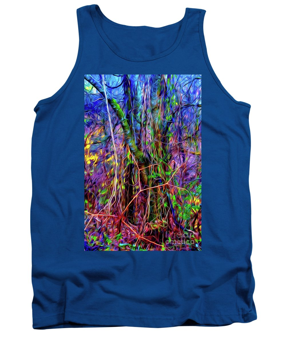 Paintings Photos Drawings Digital Art Mixed Media Paintings Illustrations Photographs Digital Artist Abstract Architecture Fantasy Impressionism Landscape Portraits Science Fiction Still Life Surrealism Editorial Satire Statement Nature Artificial Mechanical Organic Environment Dream Tank Top featuring the mixed media Yggdrasil by Kevin Keeling