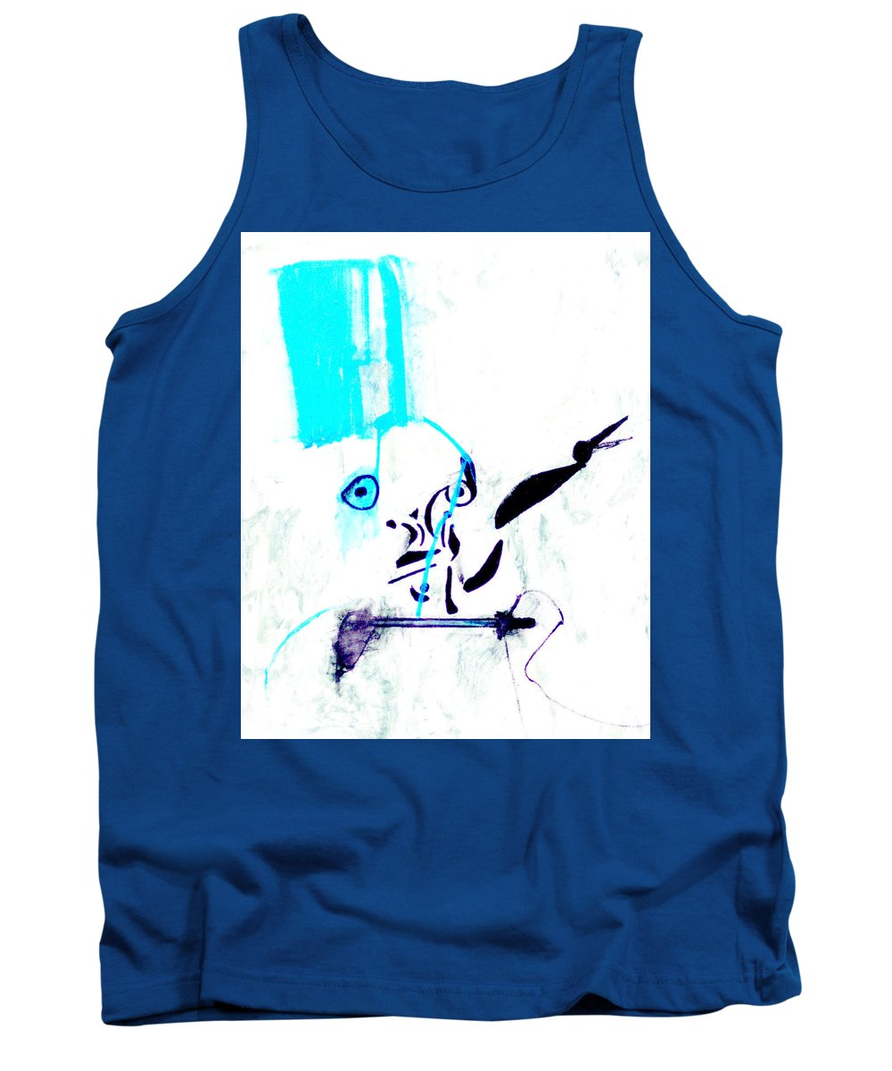 Blue Room Tank Top featuring the digital art Blue Room by Artist Dot