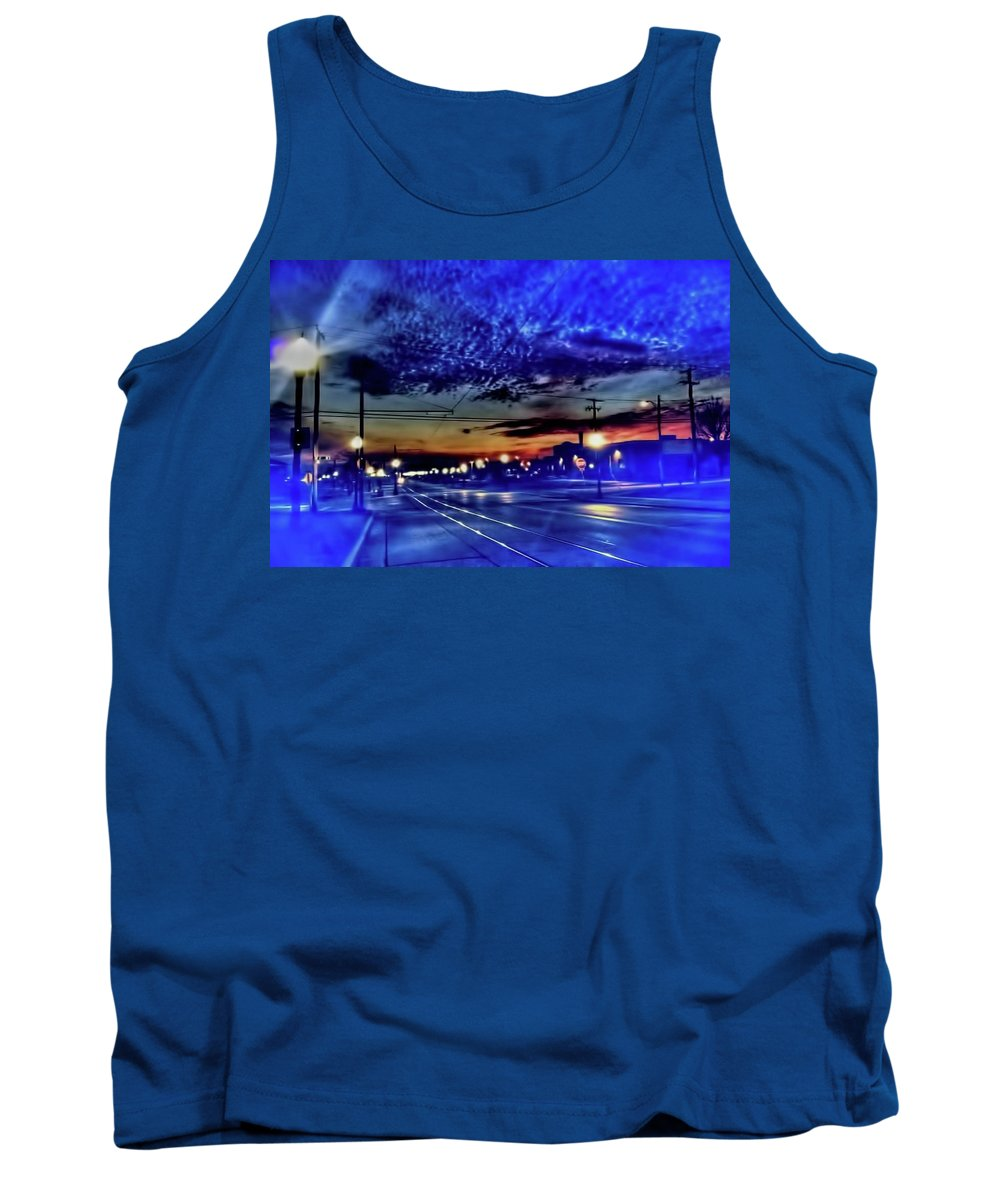 Bus Tank Top featuring the photograph Bus Stop Sunrise by Cindy Boyd