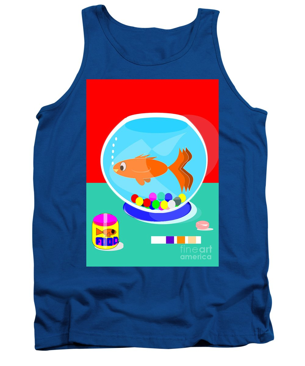 Fish Tank Tank Top featuring the digital art Fish Tank With Fish And Complete Kit by Jon Fennel