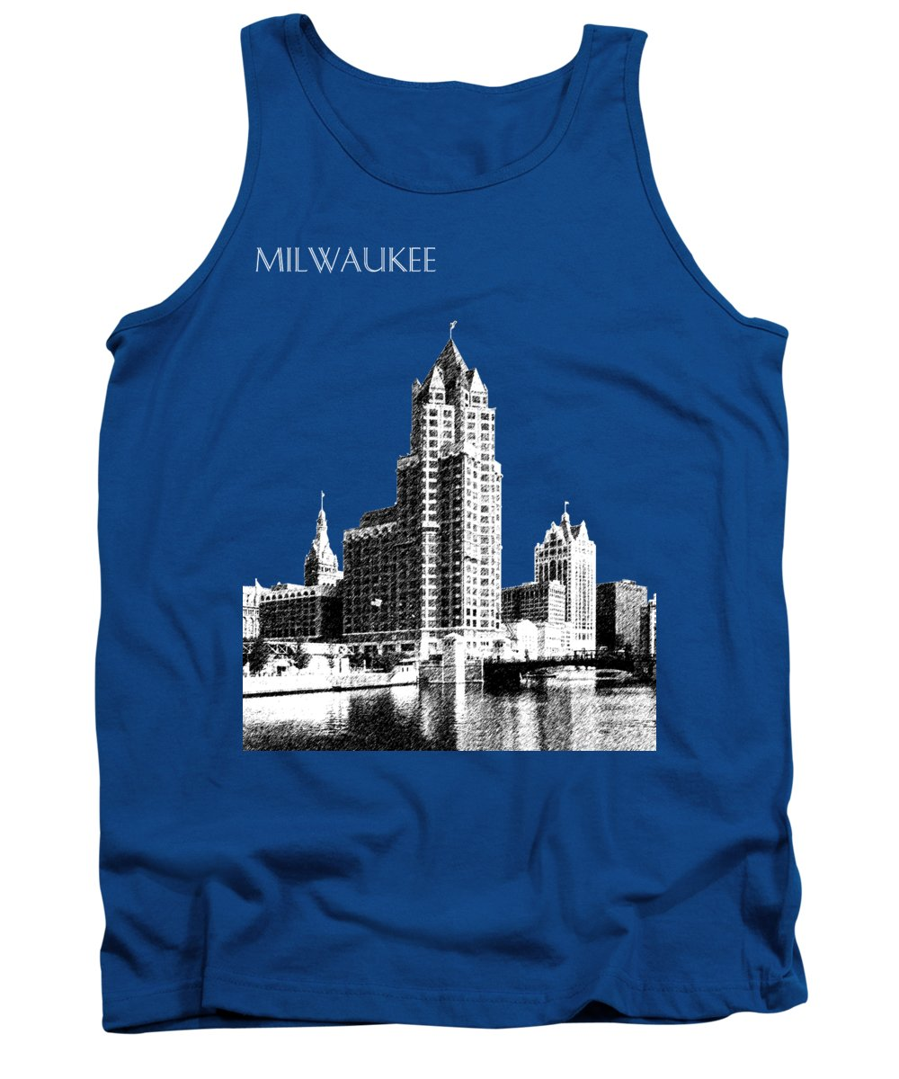 Architecture Tank Top featuring the digital art Milwaukee Skyline - 4 - Coral by DB Artist