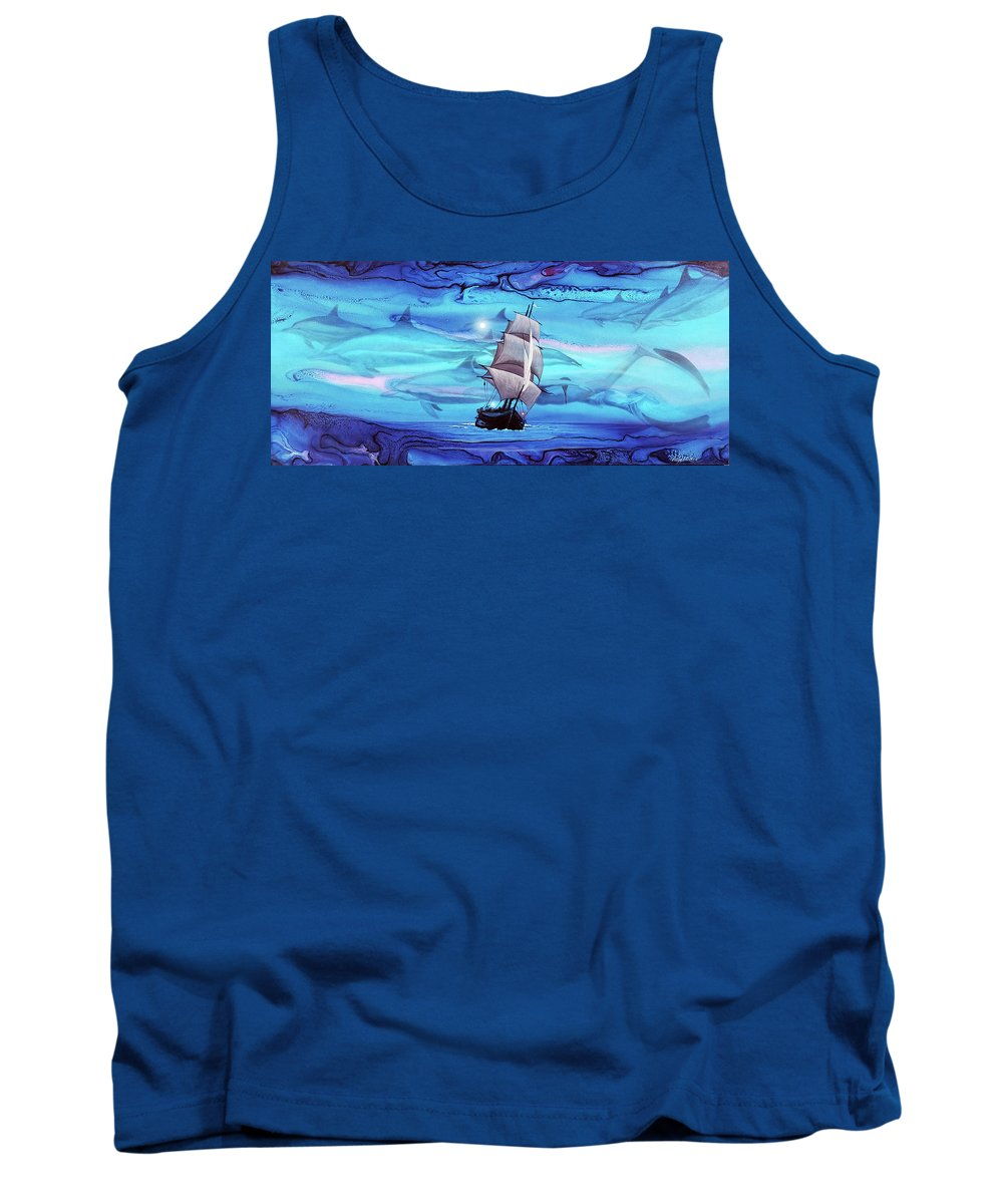 Blue Painting Tank Top featuring the painting Apnea by Angel Ortiz