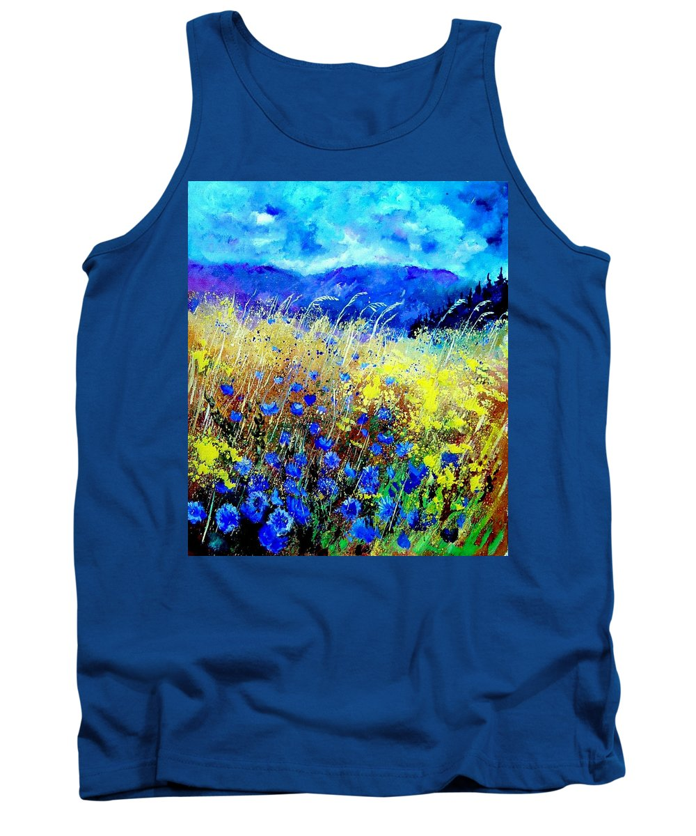 Poppies Tank Top featuring the painting Blue cornflowers 67 by Pol Ledent
