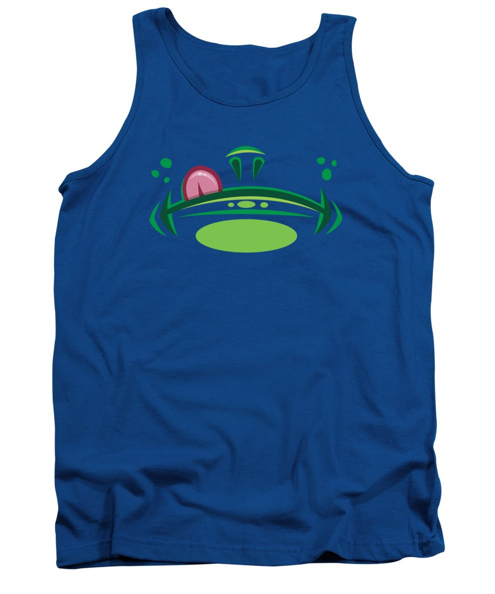 Frog Tank Top featuring the digital art Cartoon Frog Mouth with Tongue by John Schwegel