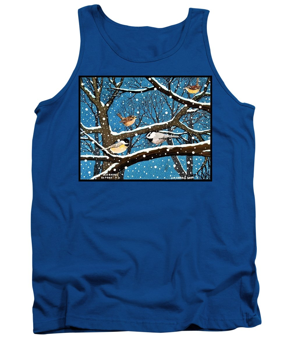Birds Tank Top featuring the painting Morning Report by Jim Harris