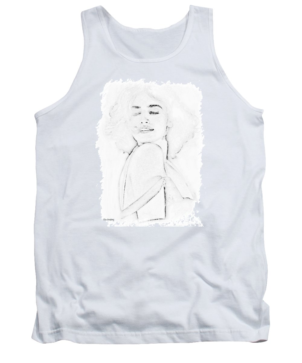 Penelope Tank Top featuring the digital art # 14 Penelope Cruz Portrait. by Alan Armstrong