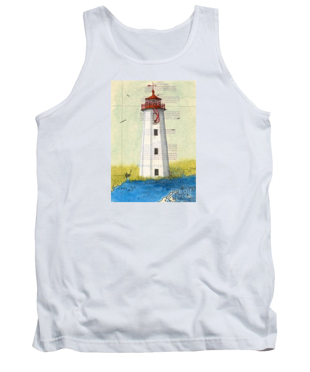Faulkner Tank Top featuring the painting Faulkner Island Lighthouse Ct Nautical Chart Map Art by Cathy Peek