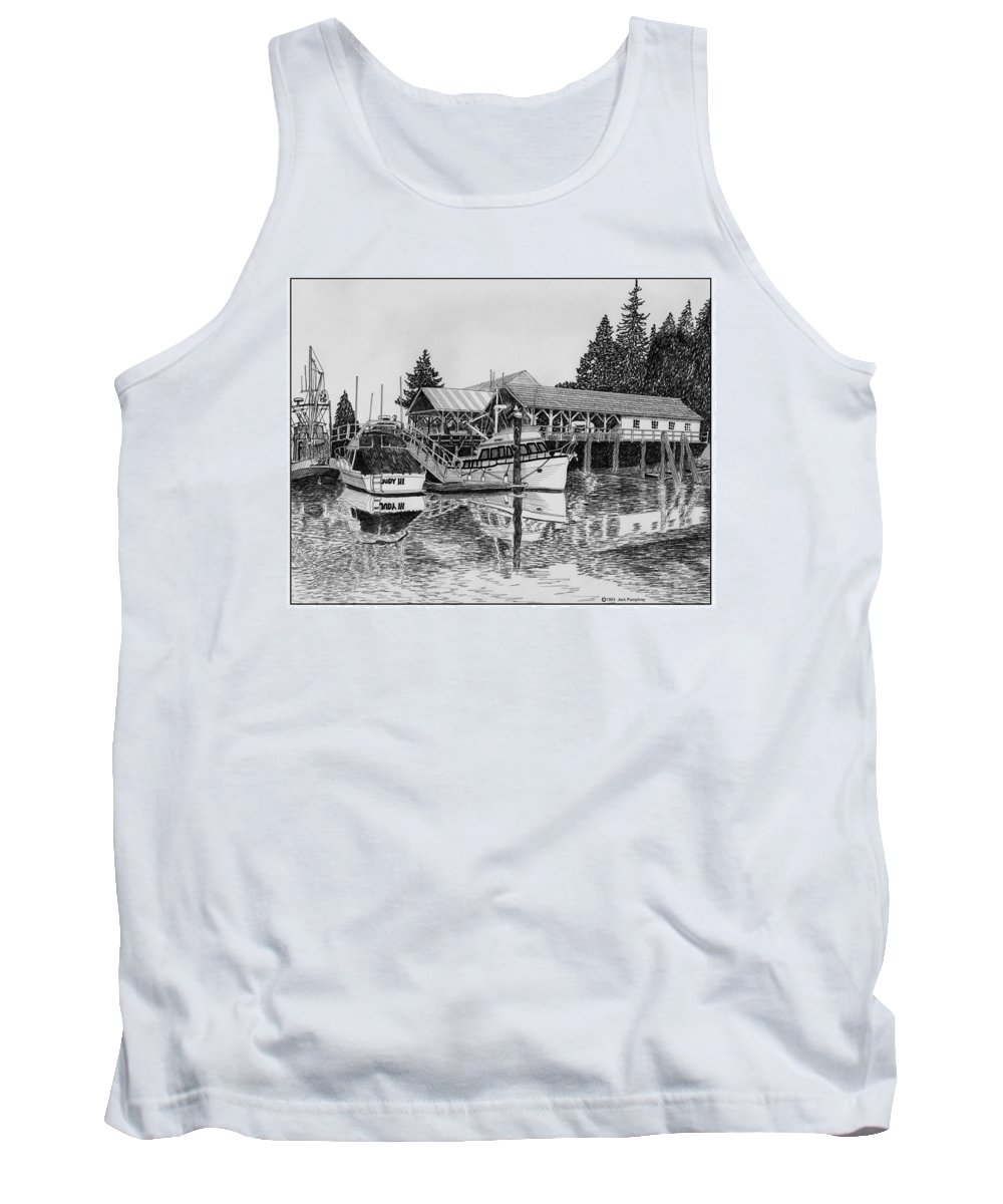 Net Sheds Tank Top featuring the drawing Net Shed Gig Harbor by Jack Pumphrey