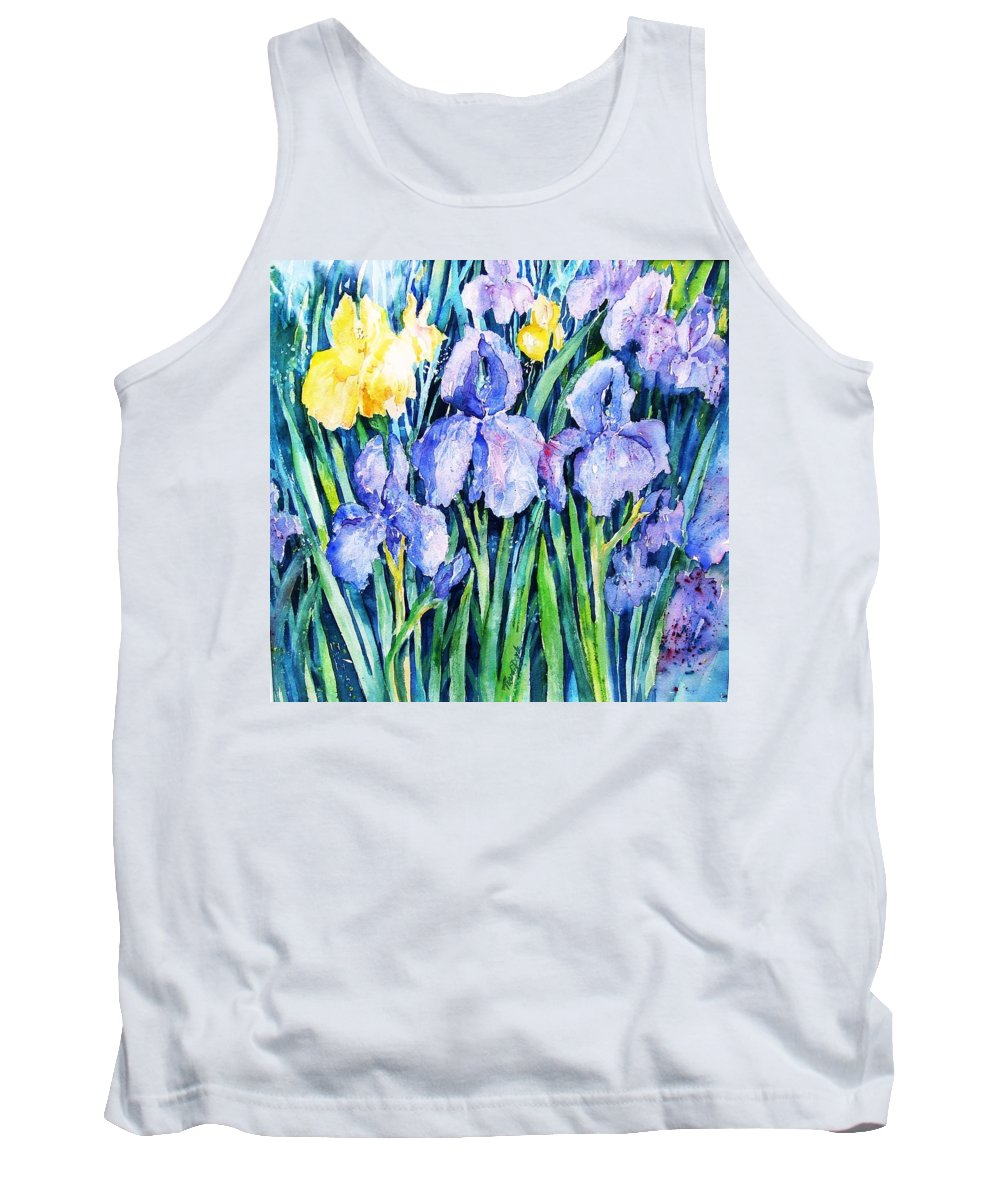 Iris Tank Top featuring the painting Irises by Trudi Doyle