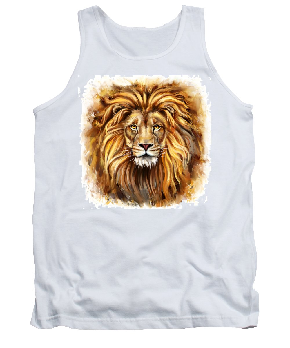 Painting Tank Top featuring the painting Lion Head In Front by Marcin Moderski