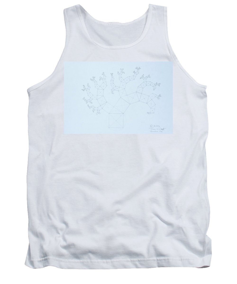 Fractal Tree Tank Top featuring the drawing Quantum Tree by Jason Padgett