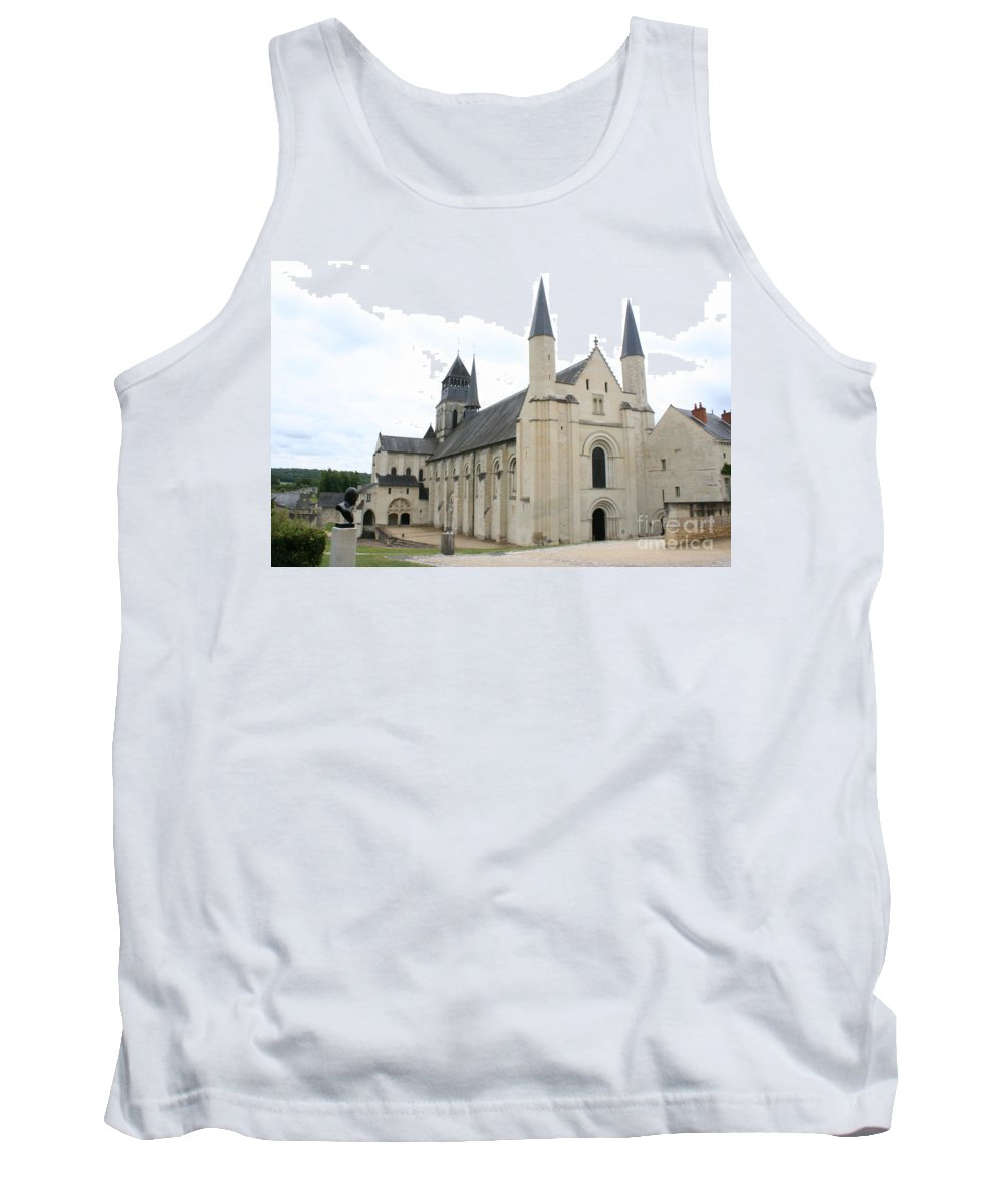 Cloister Tank Top featuring the photograph West Facade Of The Church - Fontevraud Abbey by Christiane Schulze Art And Photography