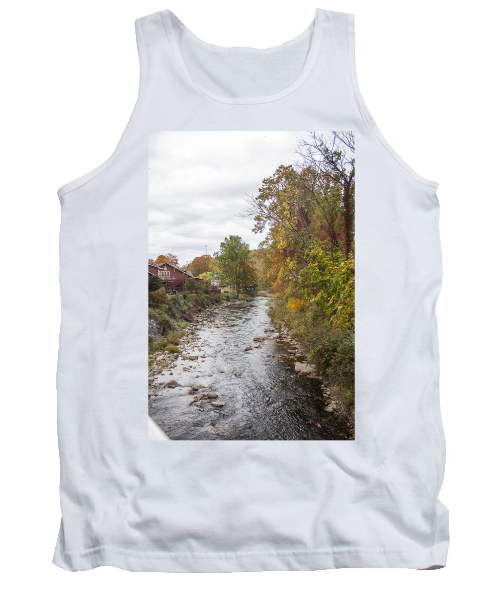 Damascus White Laural River Tank Top featuring the photograph White Laural Creek- Mid-town Damascus by Jason Huffman