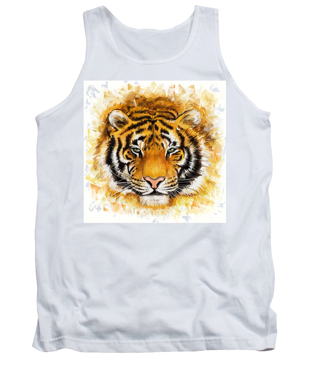 Tiger Tank Top featuring the painting Wild Tiger by Marcin Moderski