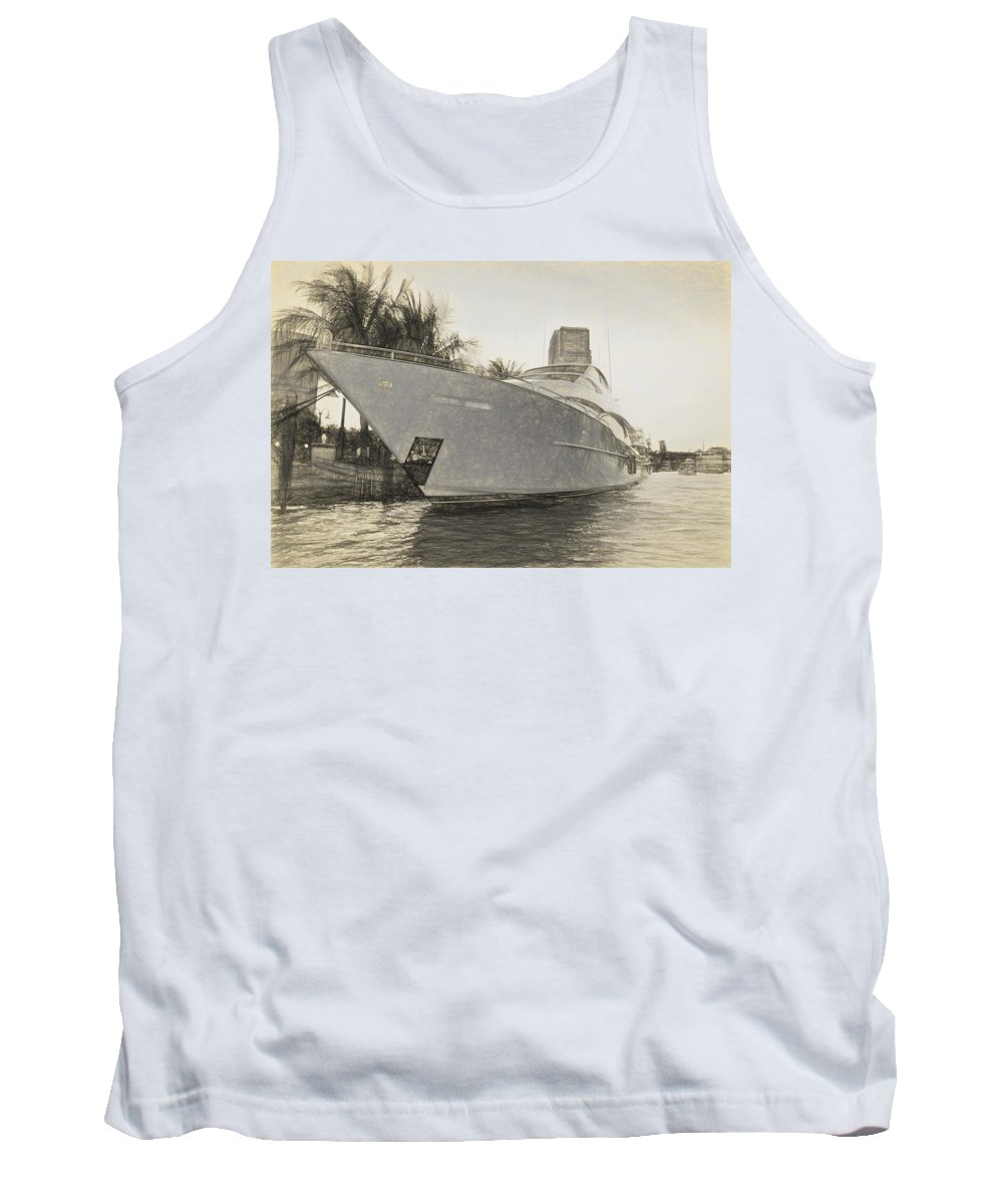 Yacht Tank Top featuring the photograph Yacht On The Water by Alice Gipson