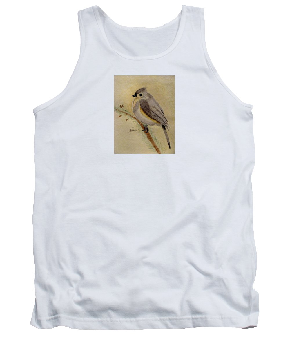 Bird Paintings Tank Top featuring the painting A Tufted Titmouse by Angela Davies
