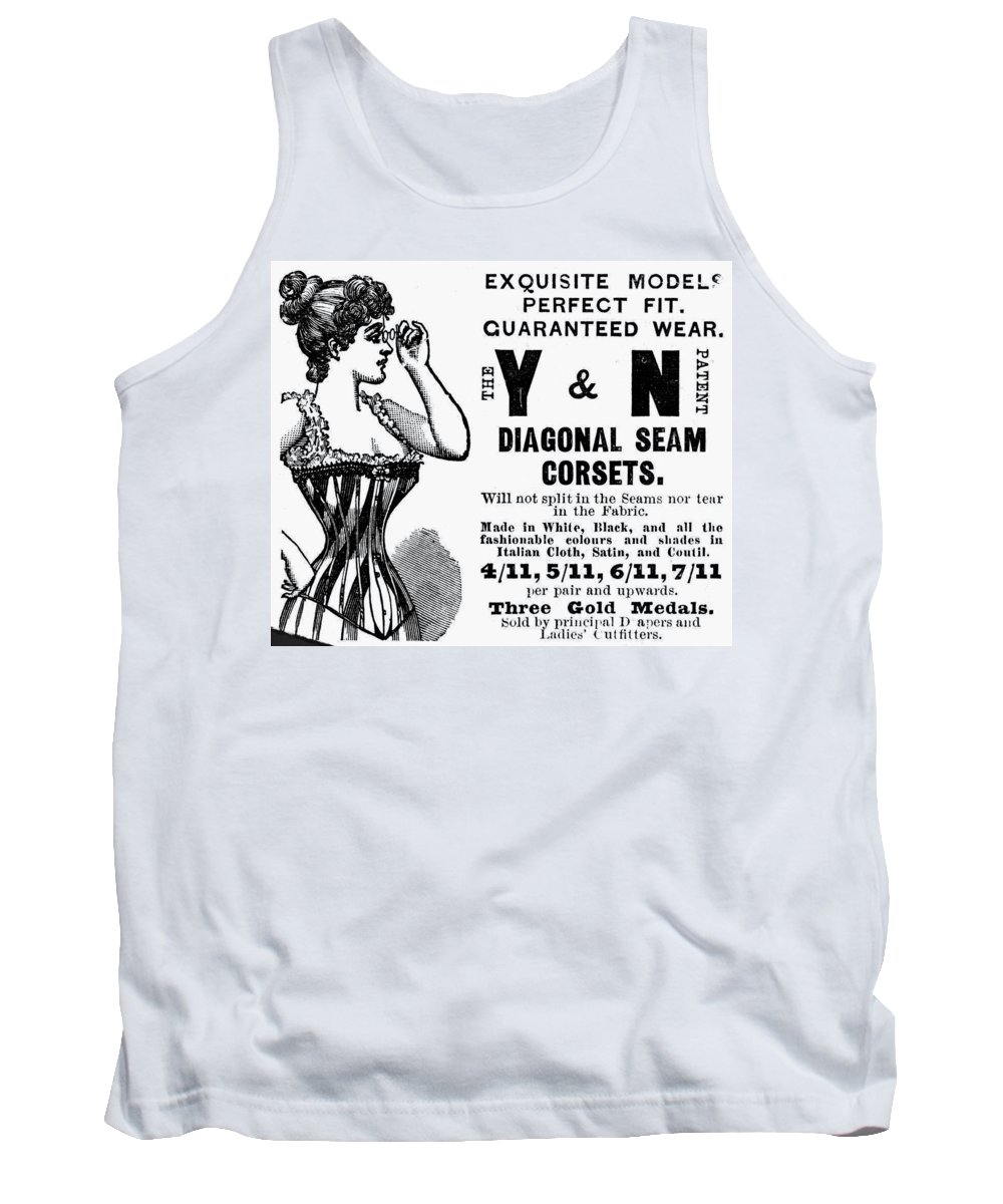 1897 Tank Top featuring the painting Advertisement Corset by Granger