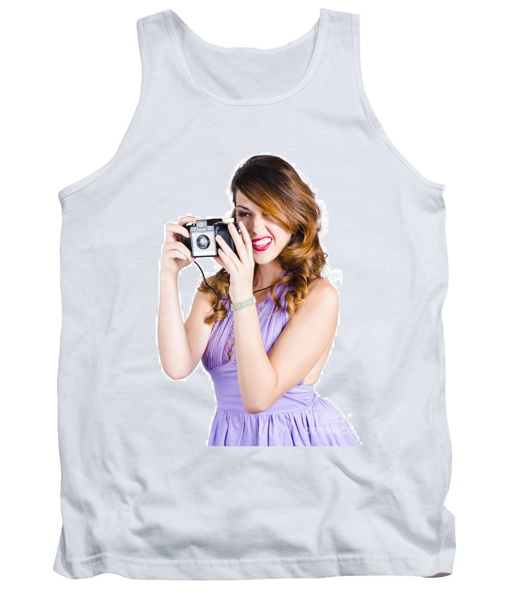 Adult Tank Top featuring the photograph Amateur Photographer Practising With Retro Camera by Jorgo Photography - Wall Art Gallery