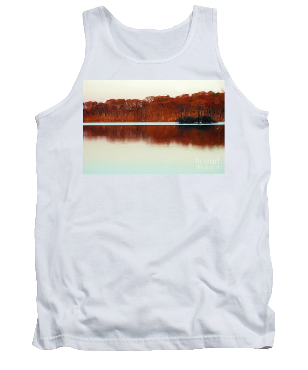 Amber Tank Top featuring the photograph Amber Autumn Lake by Mike Nellums
