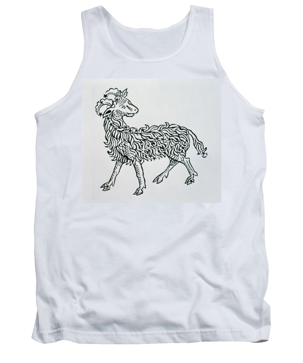Astronomy Tank Top featuring the painting Aries An Illustration From The Poeticon by Italian School