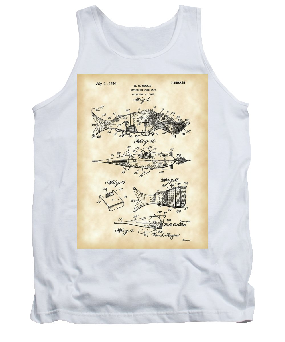 Fish Tank Top featuring the digital art Artificial Bait Patent 1923 - Vintage by Stephen Younts