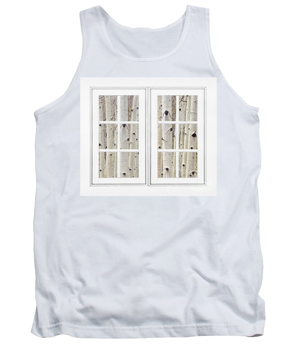 Window To Nature Tank Top featuring the photograph Aspen Forest White Picture Window Frame View by James BO Insogna