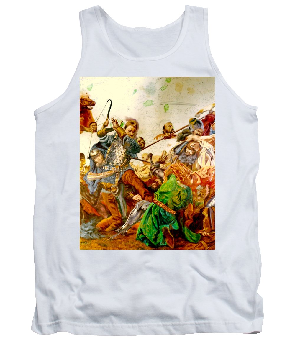 Henryk Tank Top featuring the painting Battle Of Grunwald by Henryk Gorecki