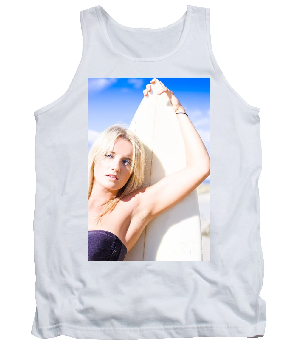 Active Tank Top featuring the photograph Blond Sports Girl Holding Surfboard by Jorgo Photography - Wall Art Gallery