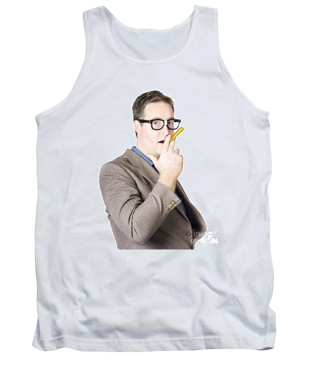Affluence Tank Top featuring the photograph Businessman Making Cigarette Of Rolled Banknote by Jorgo Photography - Wall Art Gallery