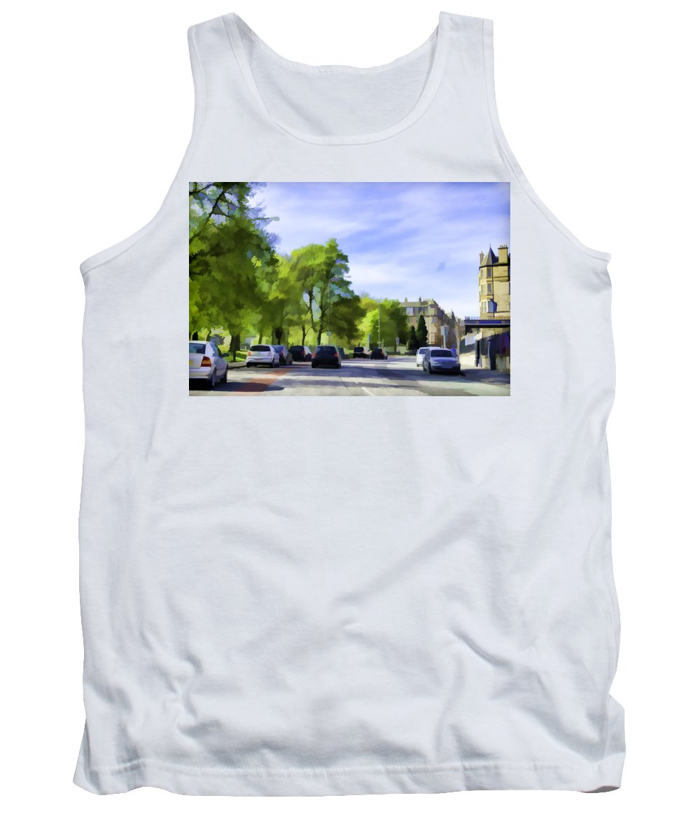 Action Tank Top featuring the digital art Cars On A Street In Edinburgh by Ashish Agarwal