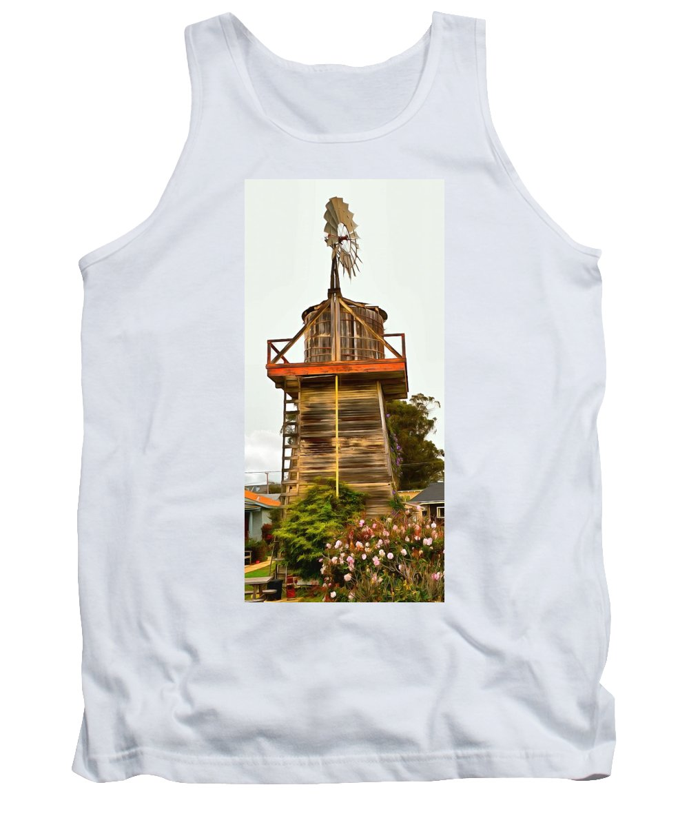 Barbara Snyder Tank Top featuring the painting Cayucos Wind Farm by Barbara Snyder