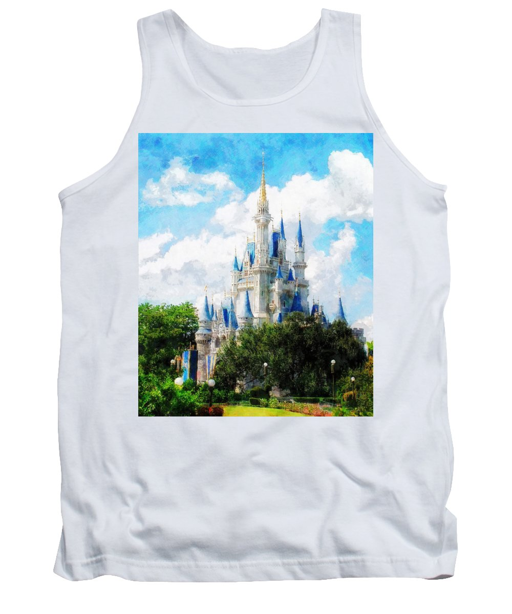 Castle Tank Top featuring the painting Cinderella Castle by Sandy MacGowan
