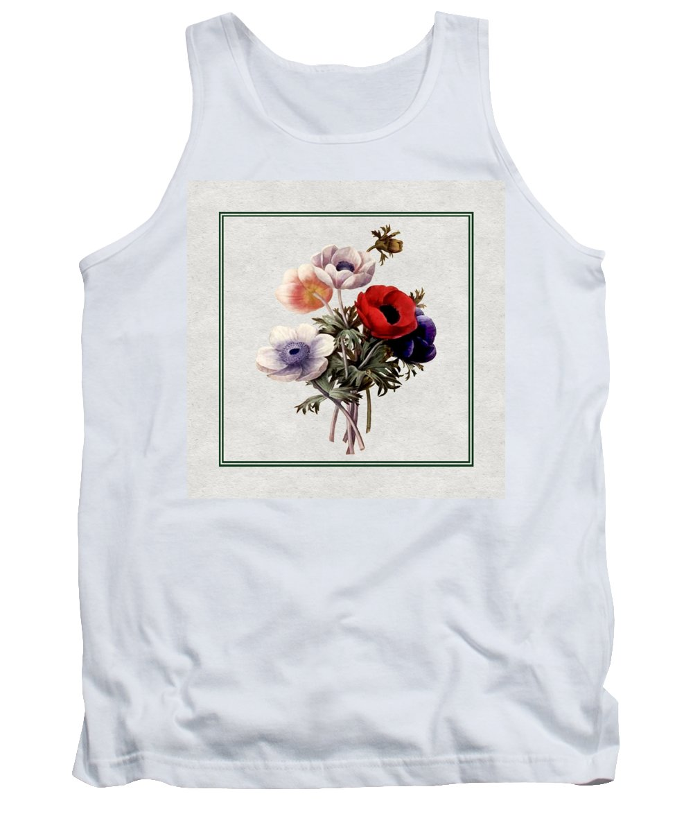 Antique Vintage Traditional Flower Floral Botanical Realistic Formal Plant Trees Tank Top featuring the painting Colorful Anemones Square by Elaine Plesser