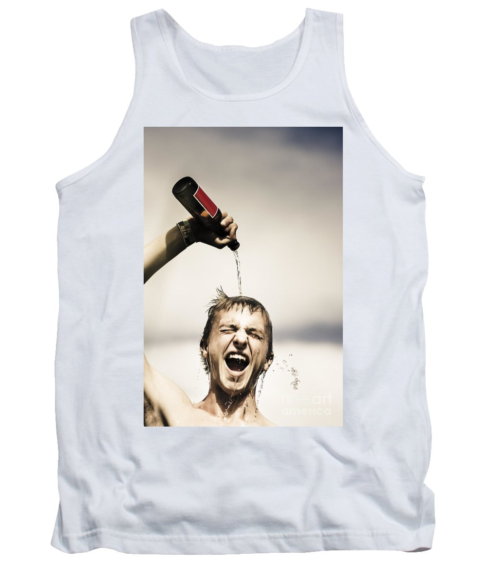 Beer Tank Top featuring the photograph Crazy Young Irish Man Celebrating St Patricks Day by Jorgo Photography - Wall Art Gallery