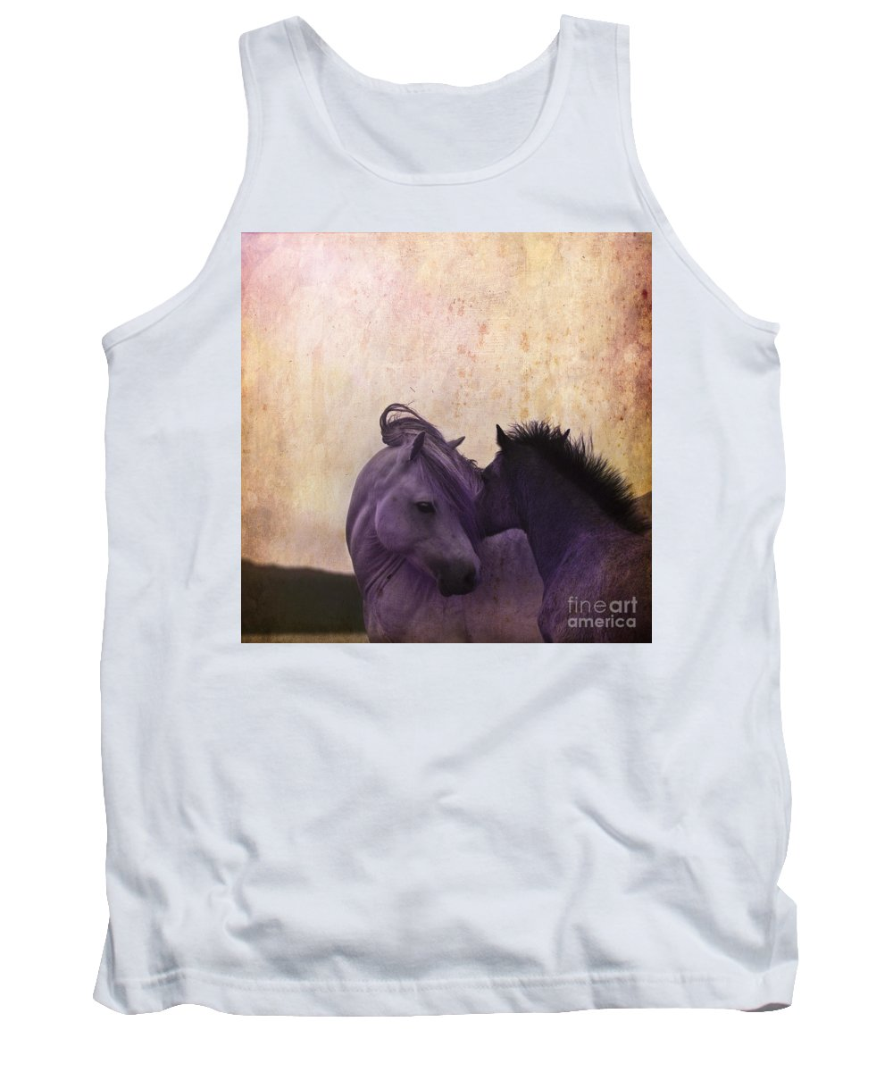 Horse Tank Top featuring the photograph Cuddle Me by Angel Ciesniarska