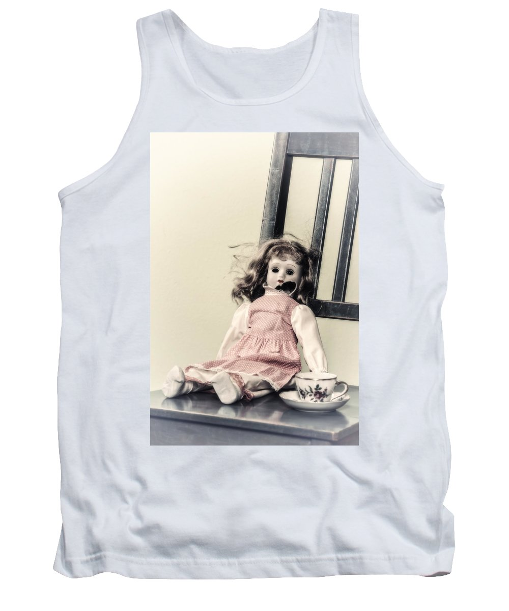 Doll Tank Top featuring the photograph Doll With Tea Cup by Joana Kruse