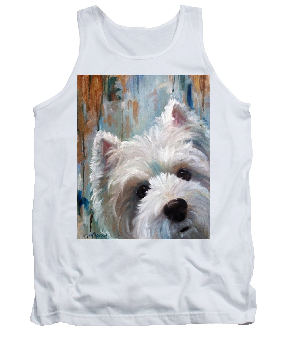 Westie Tank Top featuring the painting Drip by Mary Sparrow