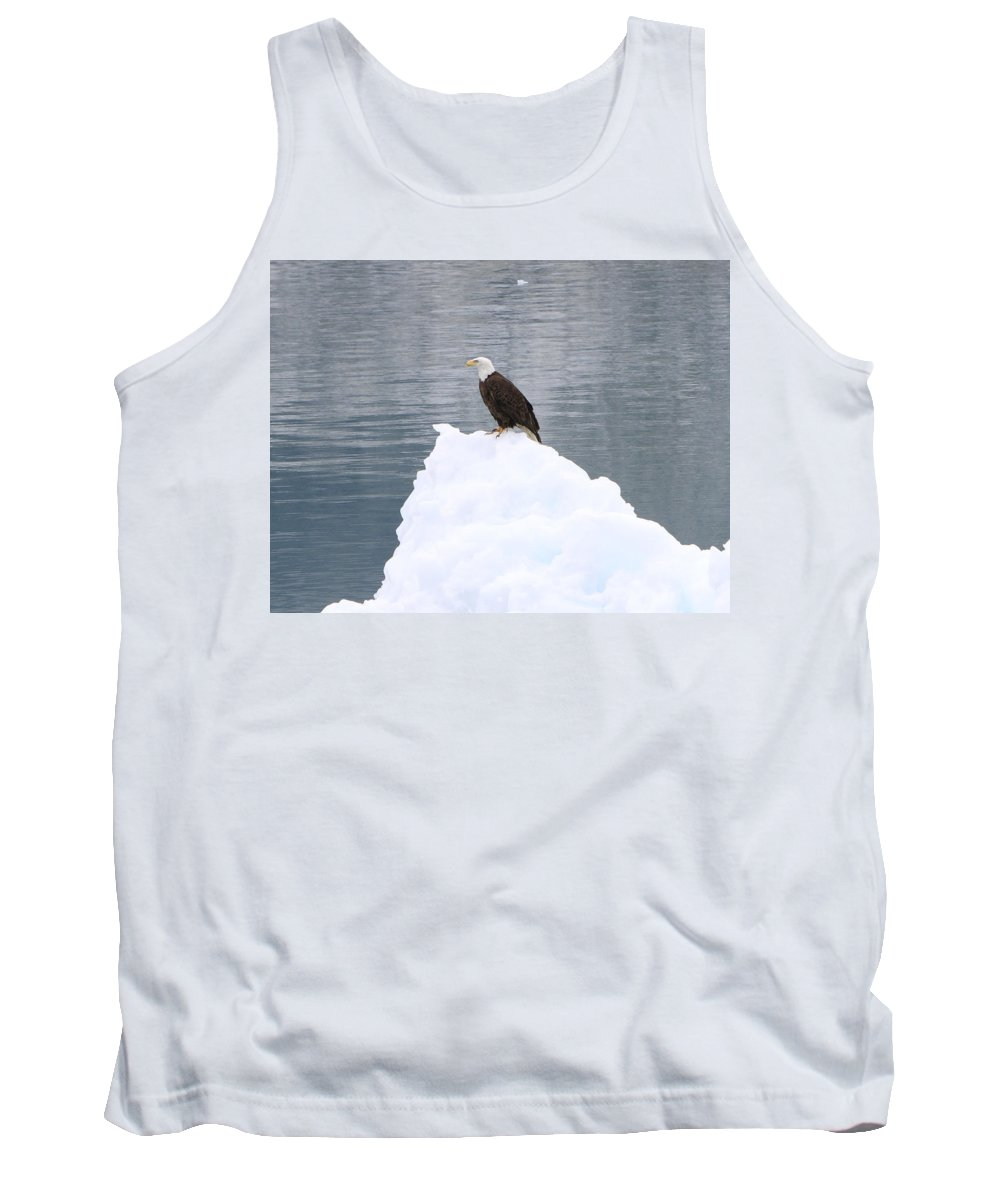 Bald Eagle Tank Top featuring the photograph Eagle On Ice by Shoal Hollingsworth