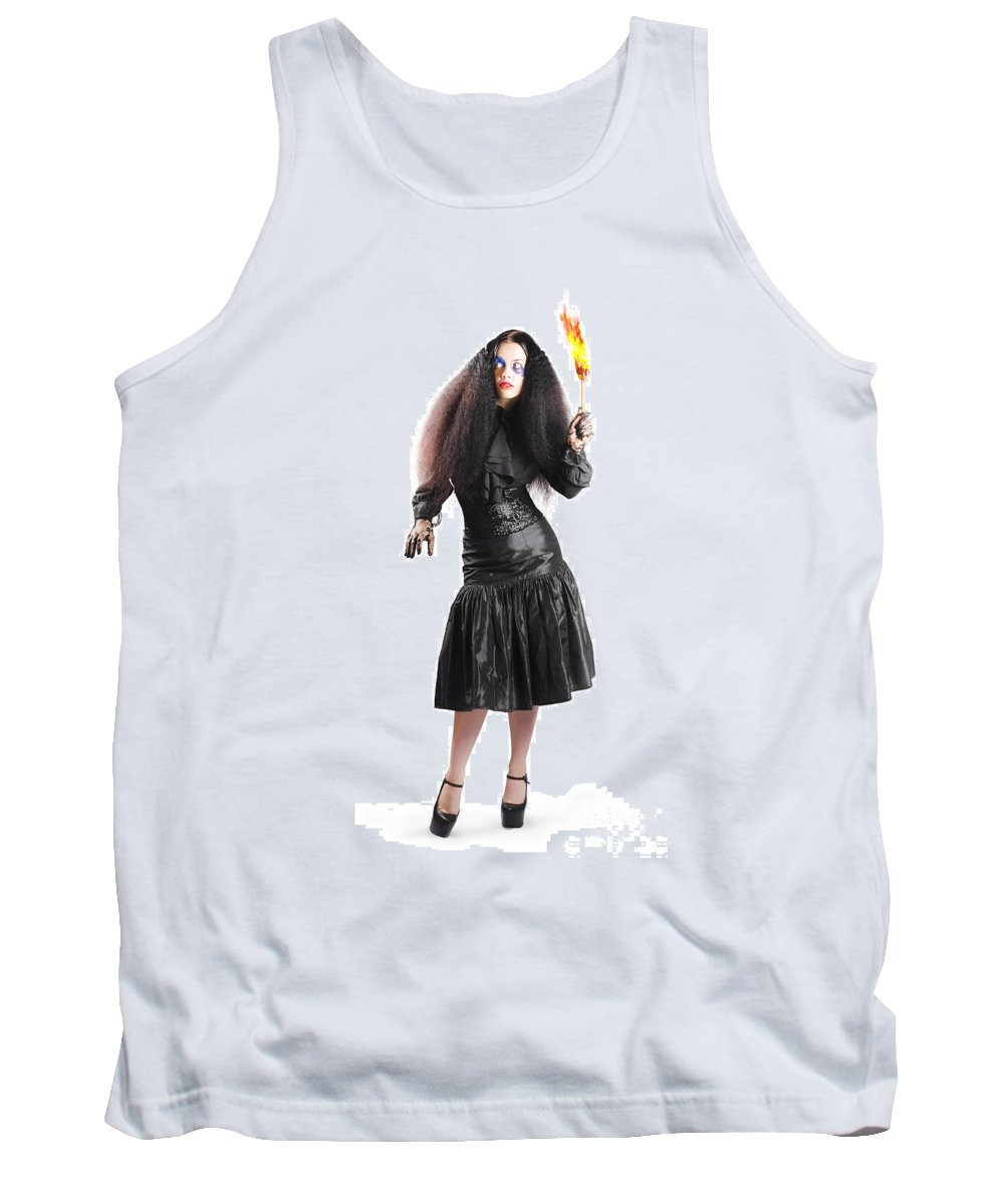 Scare Tank Top featuring the photograph Female Jester Holding Lit Fire Torch by Jorgo Photography - Wall Art Gallery