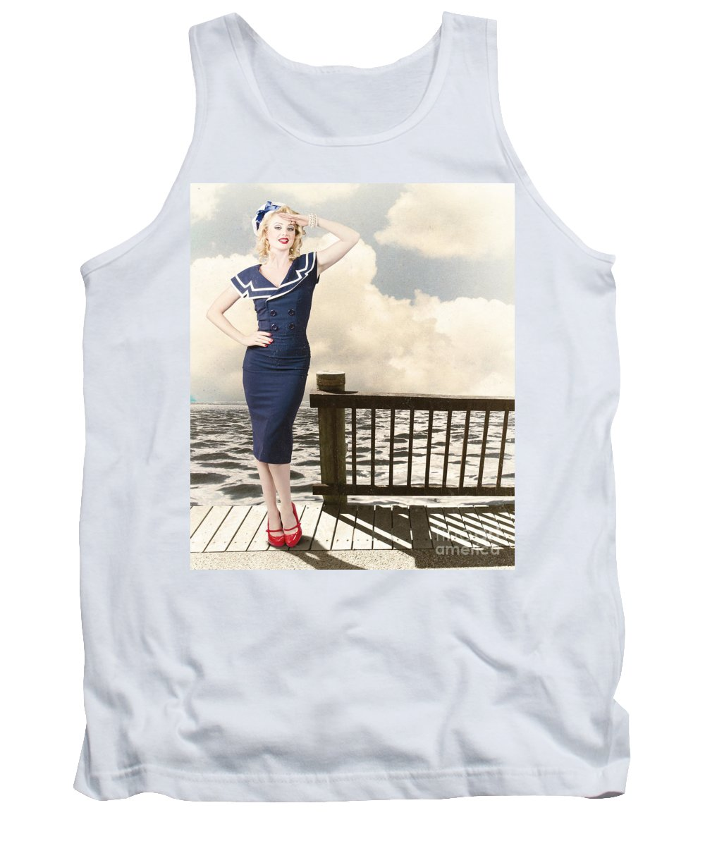 Travel Tank Top featuring the photograph Fine Art Vintage Pin-up. Vacation Departure Dock by Jorgo Photography - Wall Art Gallery