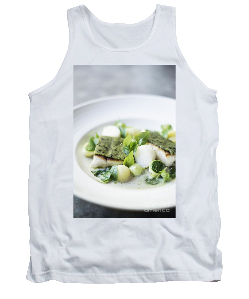 Classic Tank Top featuring the photograph Fish Fillet With Herb Topping And Vegetables by Jacek Malipan