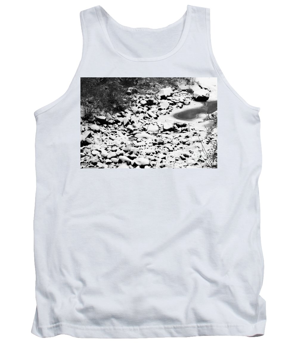 Riverbed Tank Top featuring the photograph Frozen Riverbed In Winter by Kerstin Ivarsson