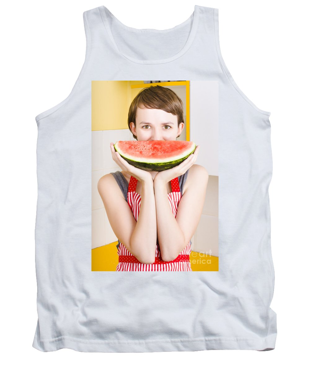 Adorable Tank Top featuring the photograph Funny Woman With Juicy Fruit Smile by Jorgo Photography - Wall Art Gallery