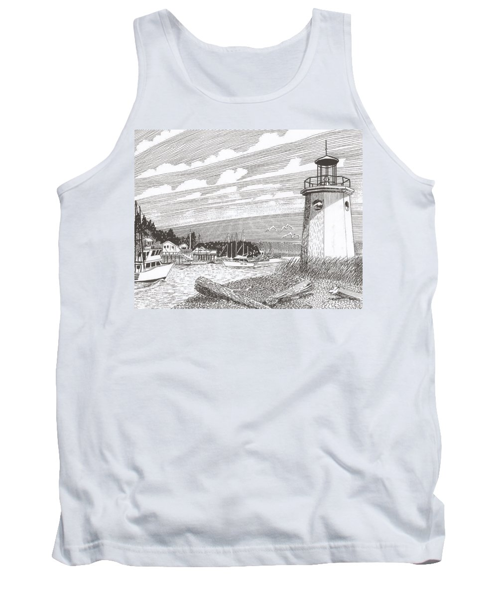 Lighthouse Art Tank Top featuring the drawing Lighthouse Gig Harbor Entrance by Jack Pumphrey