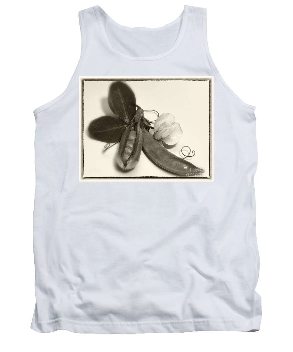 Iris Holzer Richardson Tank Top featuring the photograph Green Peas In Pod With White Flower by Iris Richardson
